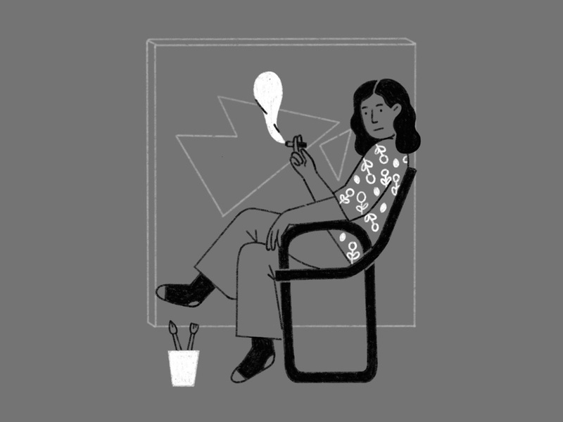 The artist resting work art painting sitdown women sitting chair smoke womenartist women line illustration simple line illustration black and white painter artist