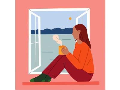 Home mountain lake window sil socks pijamas bythewindow woman window home introvert relax teatime stayhomesavelives