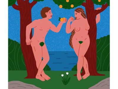 Adam and Eve art oil painting apple tree characters adam and eve tree of life