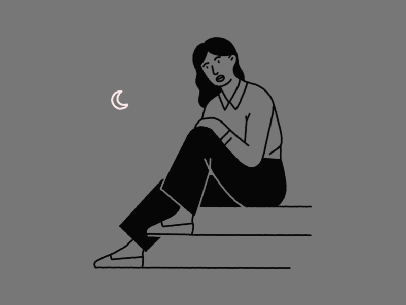 Mood squiggly line illustration line illustration black and white illustration characters stairs sitting woman moon