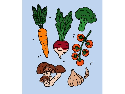 Eat your veggies garlic mushrooms turnip cherry tomatoes vector art brocoli carrot healthyfood fruit market greens vegetarian veggies