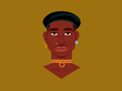 Portrait of a man characterdesign vines poster portrait illustration nosering manface jewellery hat face character bust blackman