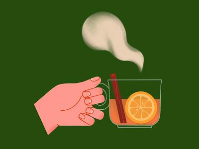 Tea relax recharge digitalart 2d hotdrink autumn teatime drink cupoftea cinnamon steam lemon hand cup tea