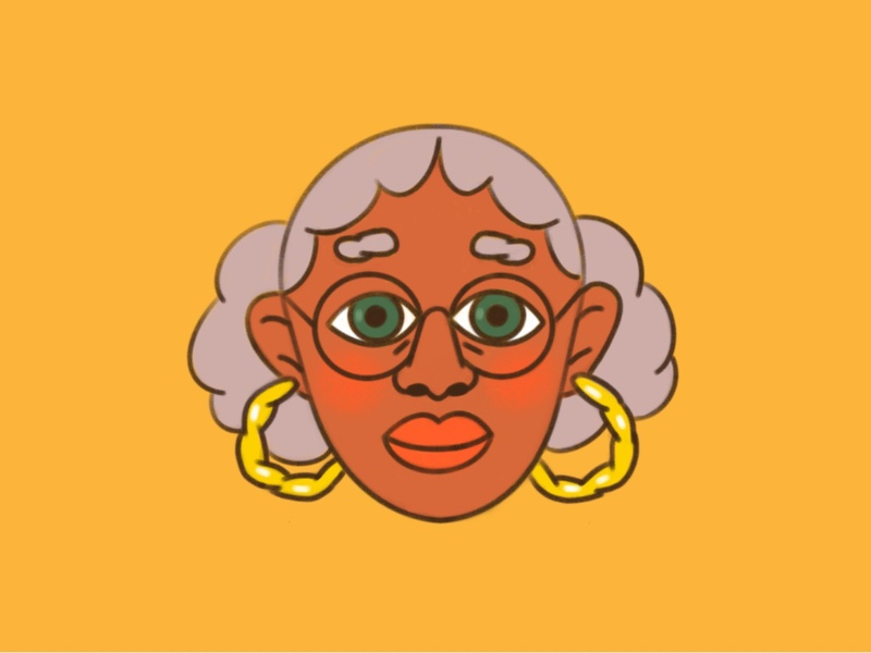 😙 woman eyes glasses old lady character earings face