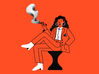 Bossy chair women character web illustration app illustration product illustration woman character sit down boots in charge powerful smoke suit boss woman boss bossy