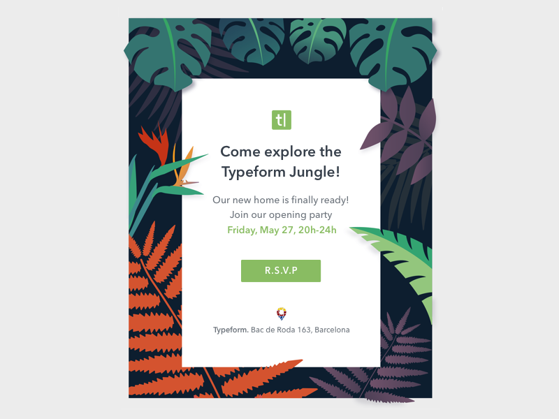 Opening Party Invitation  green flower party typeform leaves jungle flora invitation