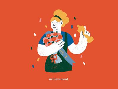 Success illustration confetty winner oscar ui illustrtion product illustration spot illustration achievement success lady