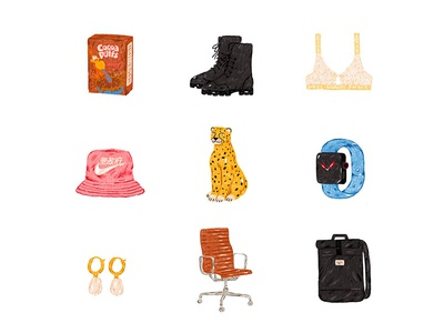 Stuff earings chair cereal box backpack hat bra chetah apple watch boots things