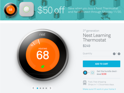 Nest Thermostat Product Page with Promotion