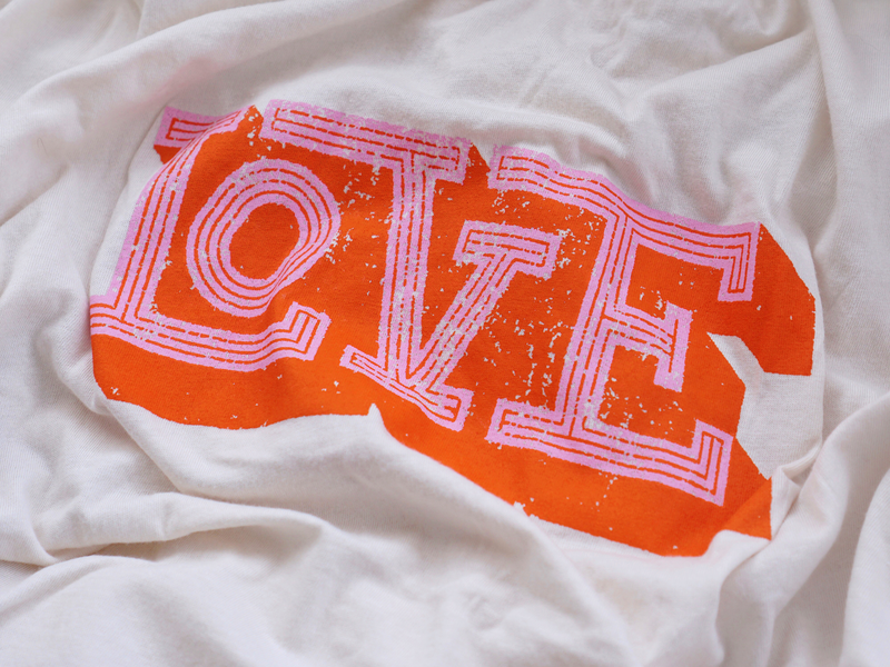Love T-shirt @ Anthropologie vintage red type letters pink love fashion tshirt lettering typography illustration