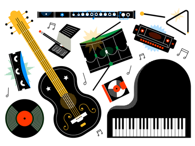 Music WIP black green blue red harmonica drum cd vinyl guitar musical instrument music design colour illustration