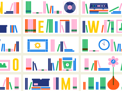 Shelfie! work in progress wip junk clock sun vector digital illustrator books shelves blue pink lettering type colour illustration