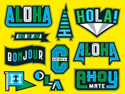 Hello! stickers design blue black lettering type colour illustration illustrator hello