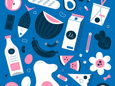 Groceries shopping food pasta pizza fish apple milk flowers blue color illustrator colour design pattern pink illustration