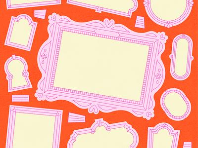 Frames yellow illustrations ornate art frame frames orange color illustrator pattern colour design pink illustration