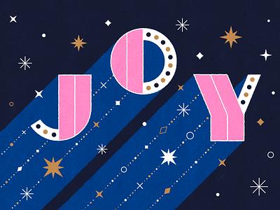 JOY illustrator gold stars joy lettering design type pink colour illustration