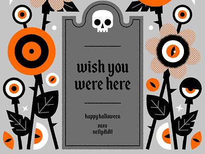Happy Halloween! illustrator illustration floral flowers halloween black orange spooky holiday