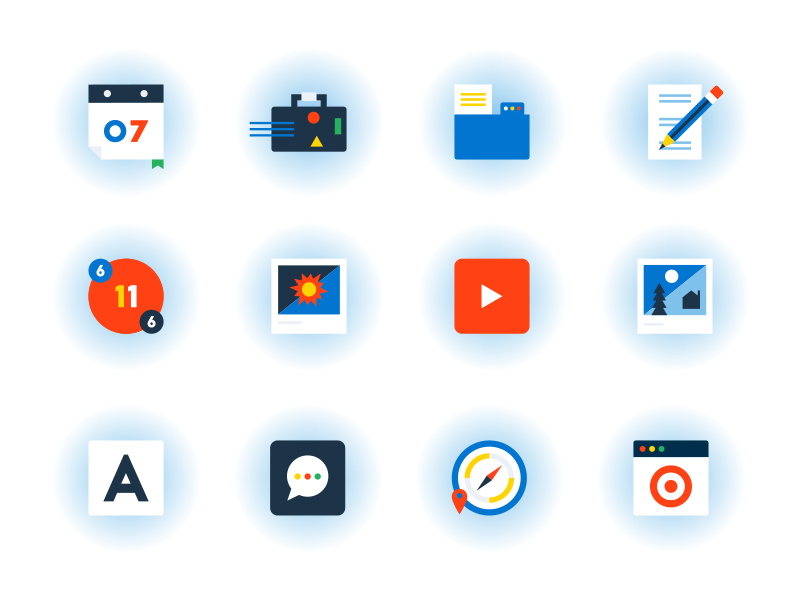 Google Icons app folder calendar messaging pencil suitcase compass youtube illustrations icon icons illustration