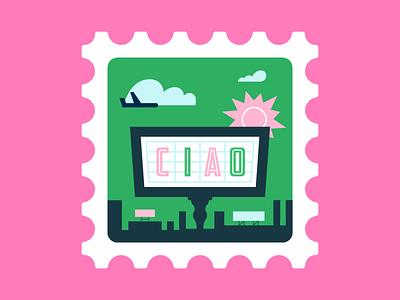 Ciao! icon plane sun colour illustration illustrations stamp lettering ciao