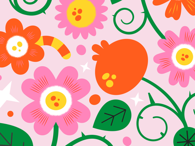Flowers yellow orange pink digital illustrator illustration plant flower flowers