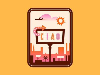 Ciao! stickers travel airplane orange design pink type colour illustration