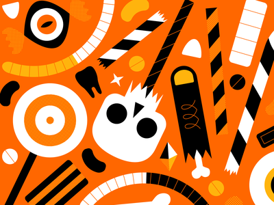 Trick Or Treat Orange orange eye print candy skull seasonal season halloween black colour illustration