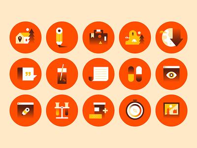 Iconsss gradients gradient icons yellow orange design illustration