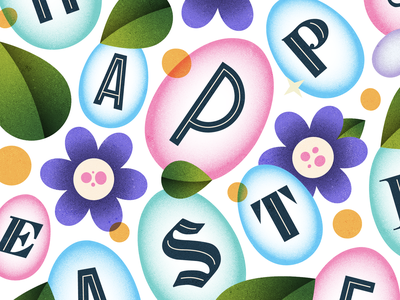 Happy Easter! spring seasons plants easter bunny green blue flowers chocolate easter egg happy easter easter pink colour illustration