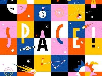 Square Space 🌚 print vector color orange black design pattern pink colour illustration space age sun moon space