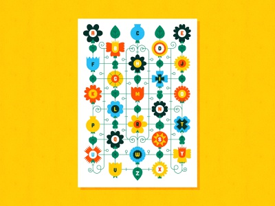 Blooms alphabet alphabet print flowers flower design vector colour illustration