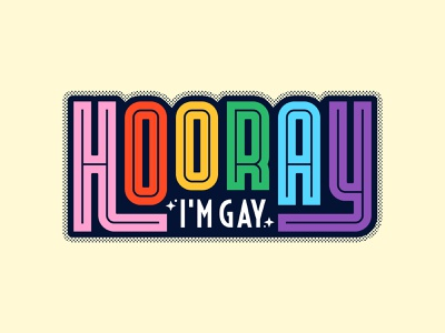 Hooray stickerspub stickers rainbow pride lgbt typography lettering type illustration colour