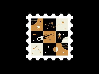 🌌🌌🌌 stamps stamp stars planets gold white blackletter space design vector illustration