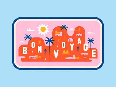 Bon Voyage! digital hills palms blue red pink illustrator colour illustration
