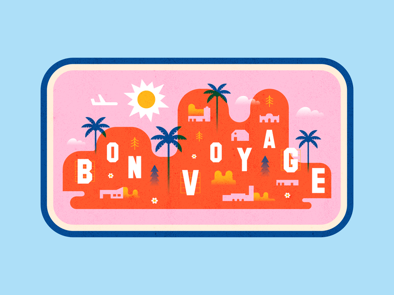 Bon Voyage! digital hills palms blue red pink illustrator colour illustration