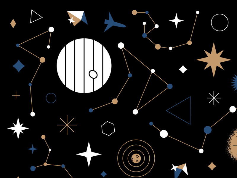 Stargazing 💫 star starship outerspace space blue gold black design pattern illustration stars