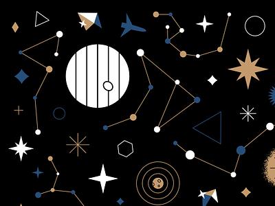 Stargazing 💫 star starship outerspace space blue gold black design pattern illustration stars