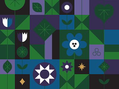 Night Garden adobe illustrator digital illustrator night stars plants plant flower vector design colour illustration