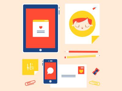 Things illustration icons things yellow orange blue white iphone ipad envelope stationary