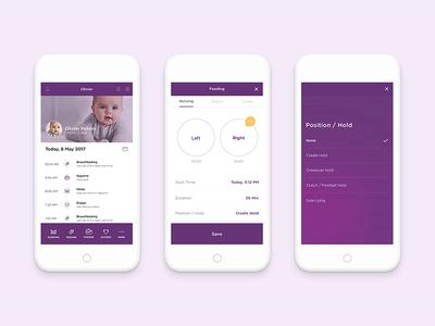 Baby tracker app phone mobile ios app ux ui feeding tracker baby