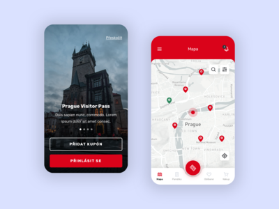 Prague Visitor Pass - Mobile App red app mobile app design app design ui mobile ui mobile app