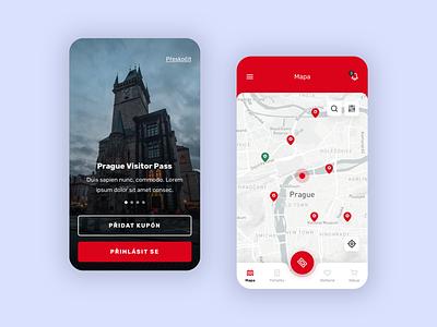 Prague Visitor Pass - Mobile App red app mobile app design app design ui mobile ui mobile app