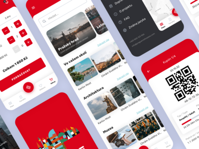 Prague Visitor Pass - Mobile App ui red mobile ui mobile app design mobile app app design app