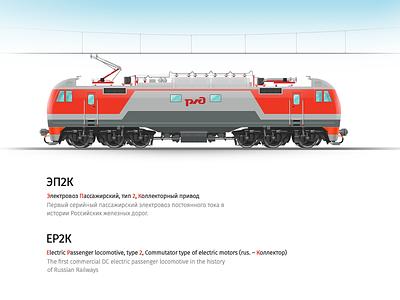 Electric locomotive railroad illustration