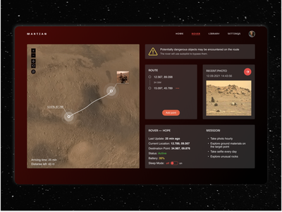 Mars Rover Dashboard space interface graphic design mars ux design dashboard concept