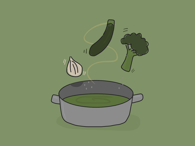 Pour the soup veggies green graphic  design vegetables illustration food drawing