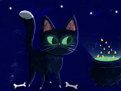 Happy Halloween :) greeneyes ilovecat miau corncandies bones bluenight blackcats cat nightmare characterdesign drawing kidsillustration