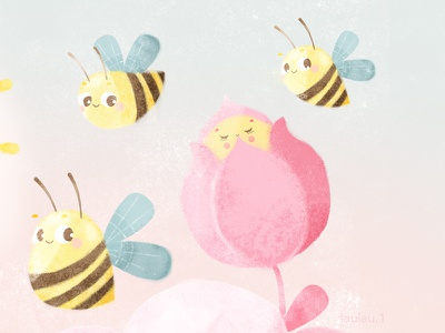 Spring Love kidsillustration kids illustrationartists illustration flowers flowerpower drawing draw characterdesign bee