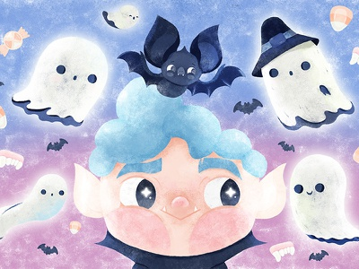 Trick or Treat booooooh ghost vampire illustrationartists halloween2018 halloweenillustration illustration characterdesign kidsillustration drawing