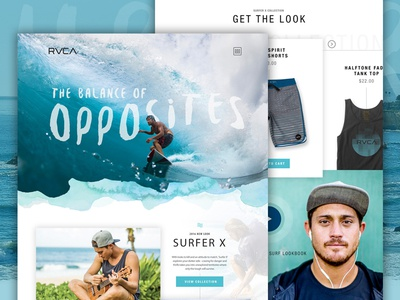 RVCA Surf Concept extreme sports web design summer surfing blue water surf e-commerce website typography design rvca