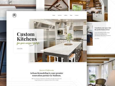 Artisan Remodeling web design typography design web remodeling website ui layout homepage